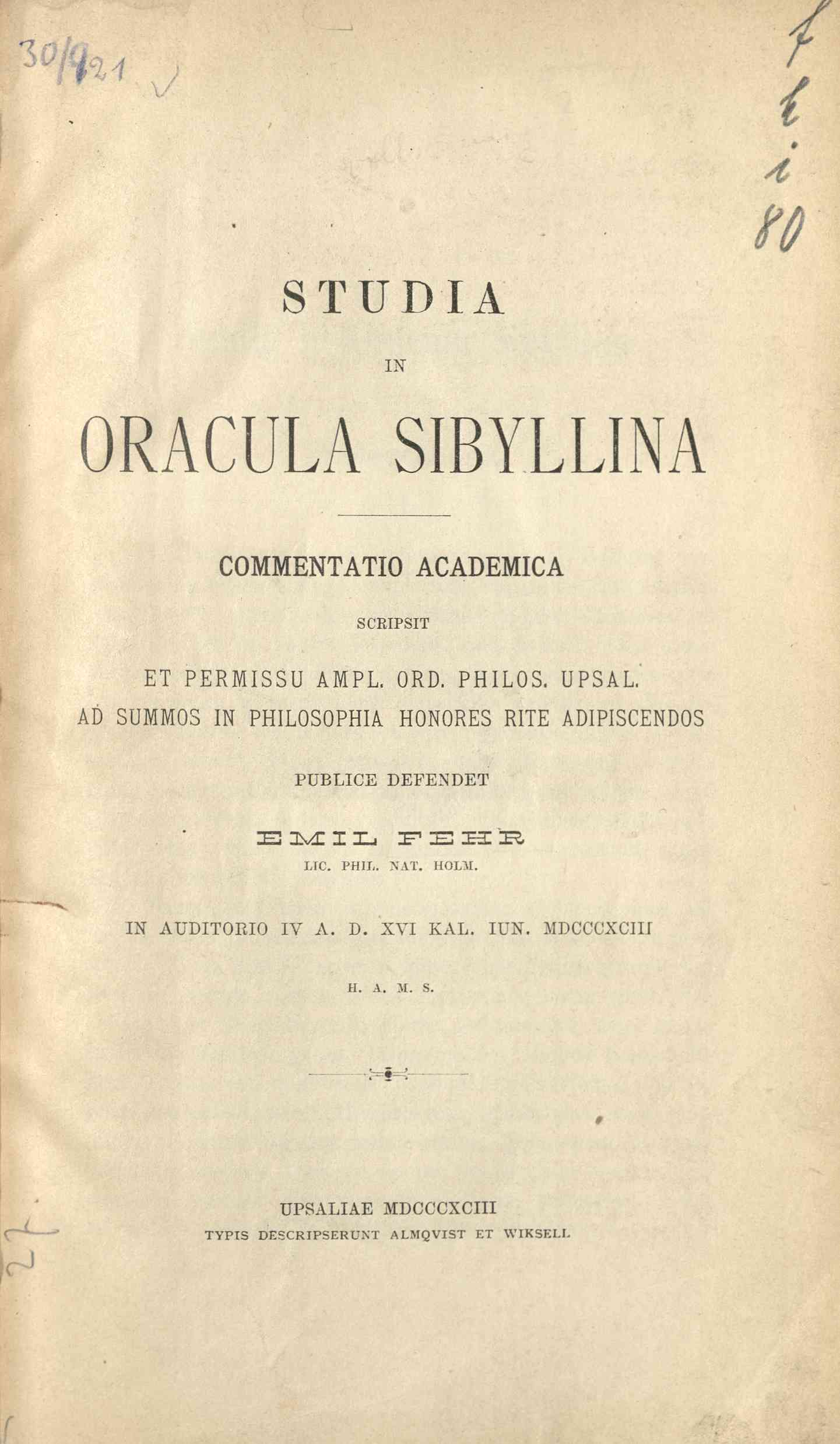 Studia in oracula Sibyllina