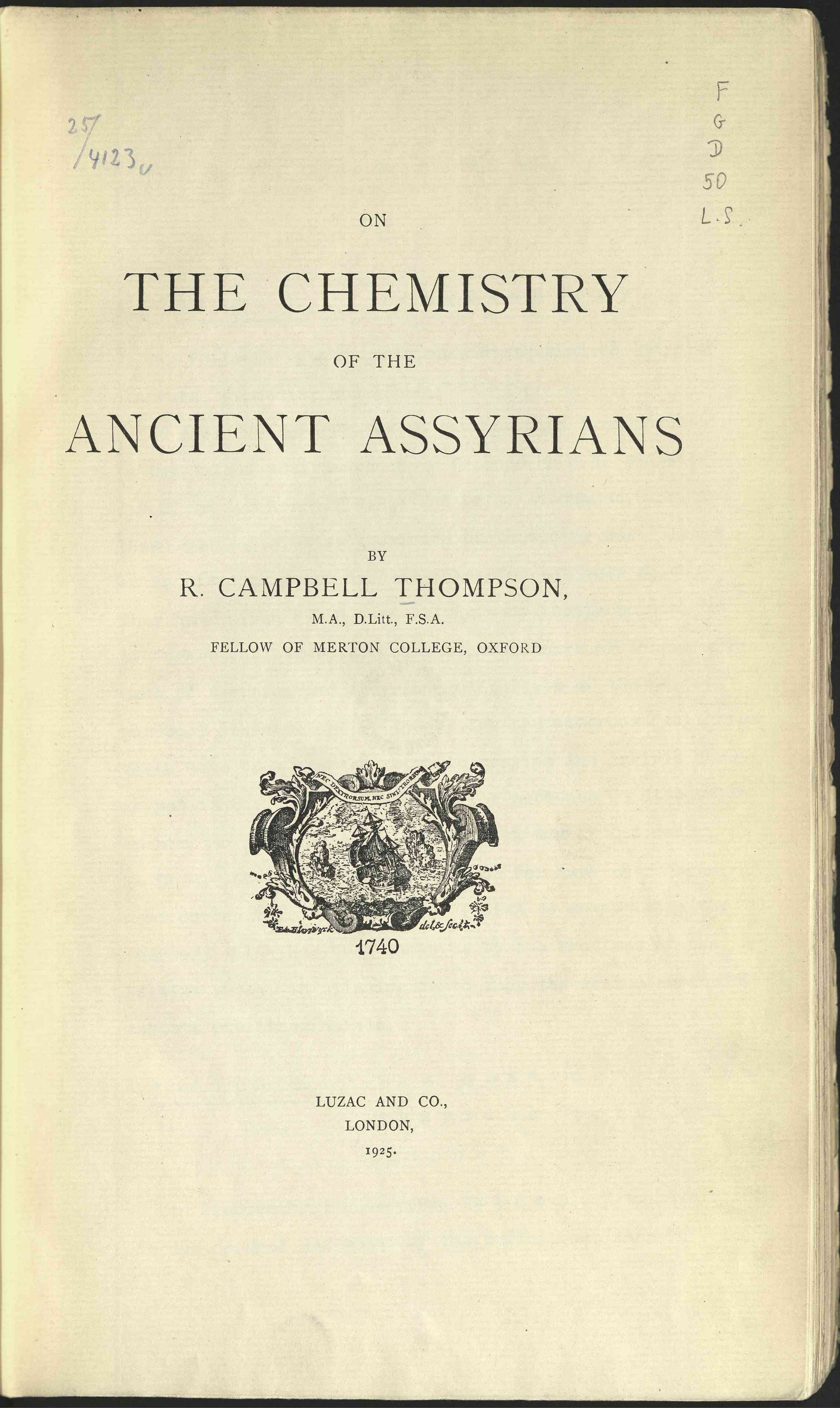 Chemistry of the ancient Assyrians, The