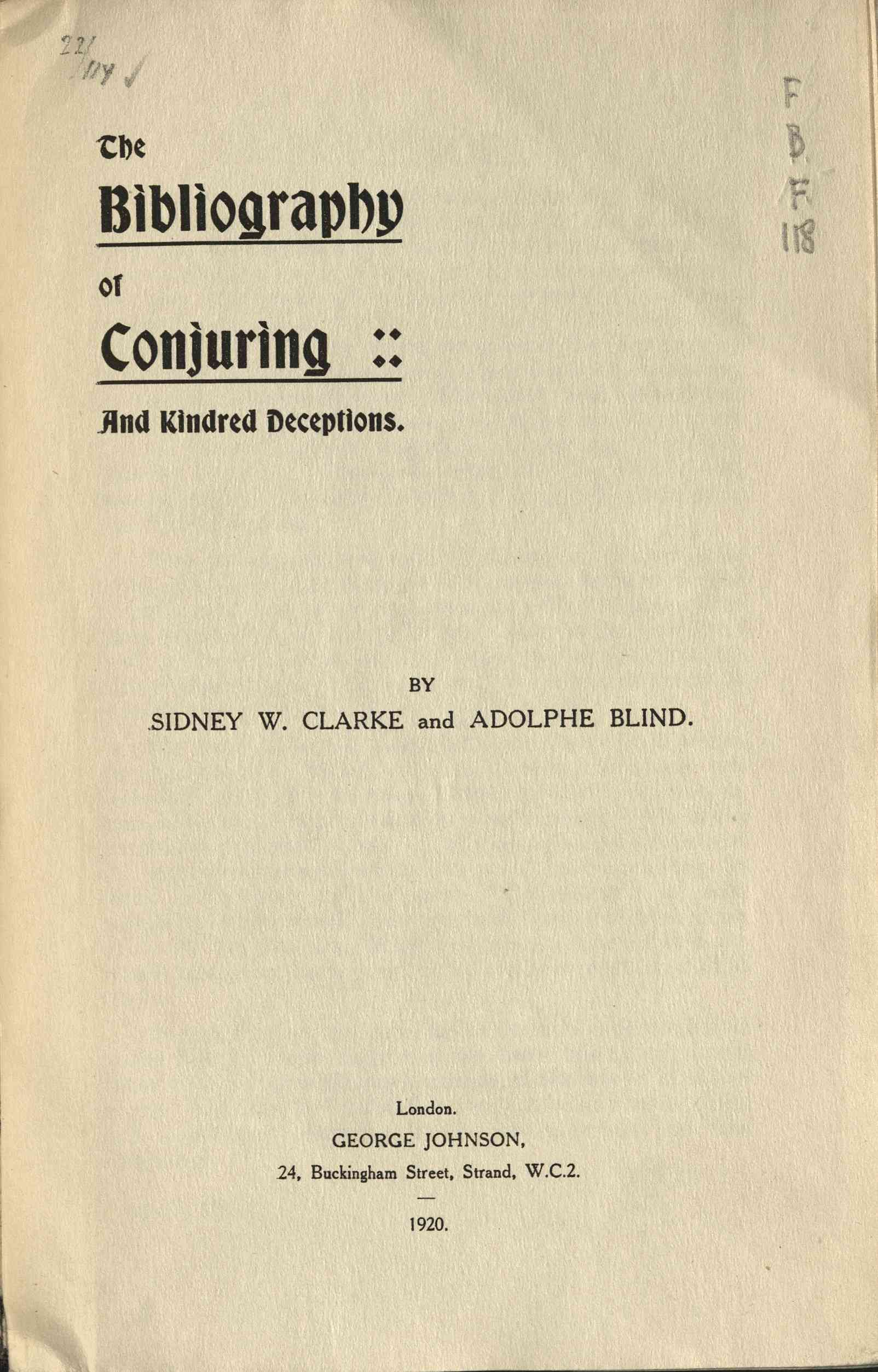 Bibliography of conjuring and kindred deceptions, The