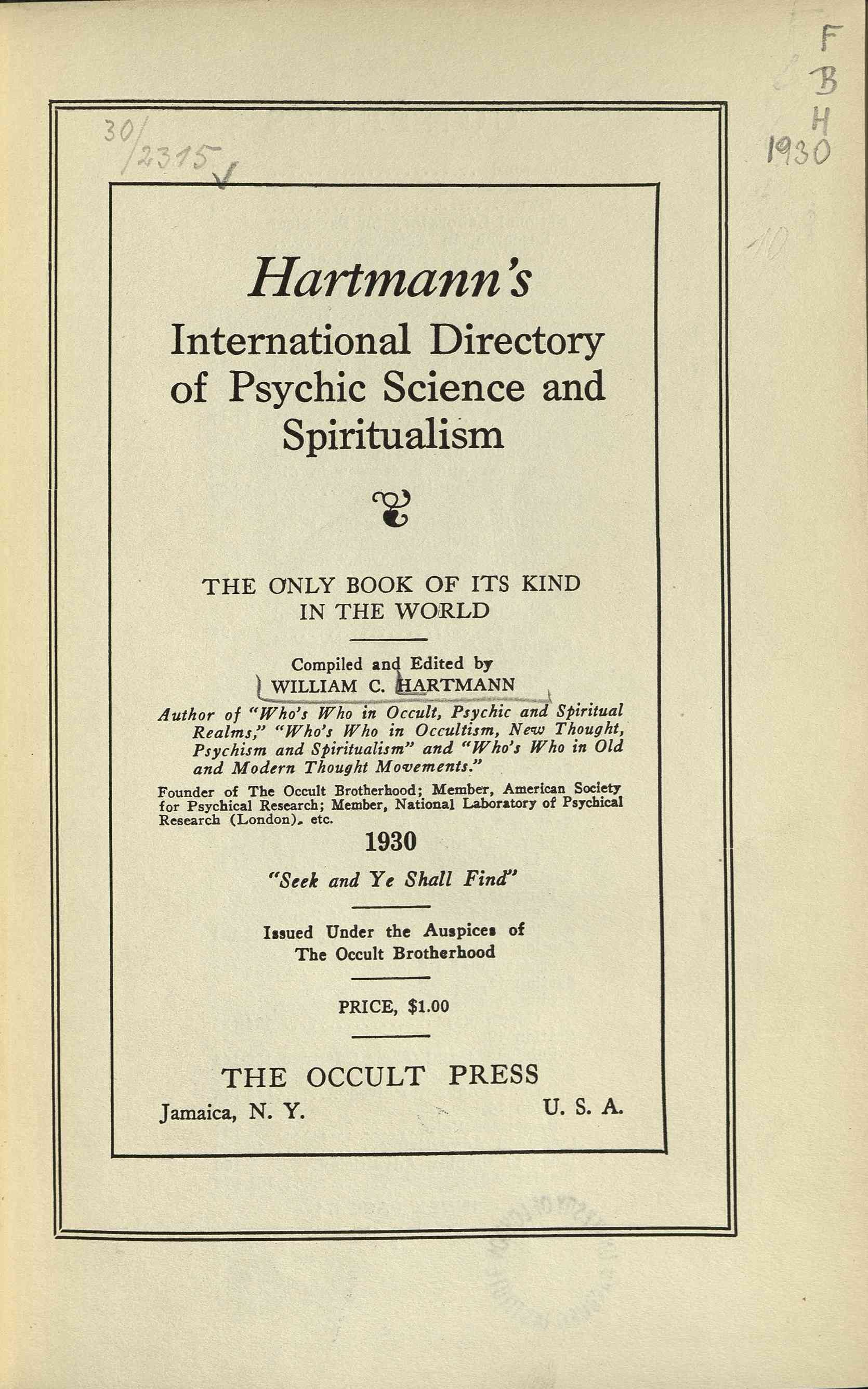 Hartmann's international directory of psychic science and spiritualism