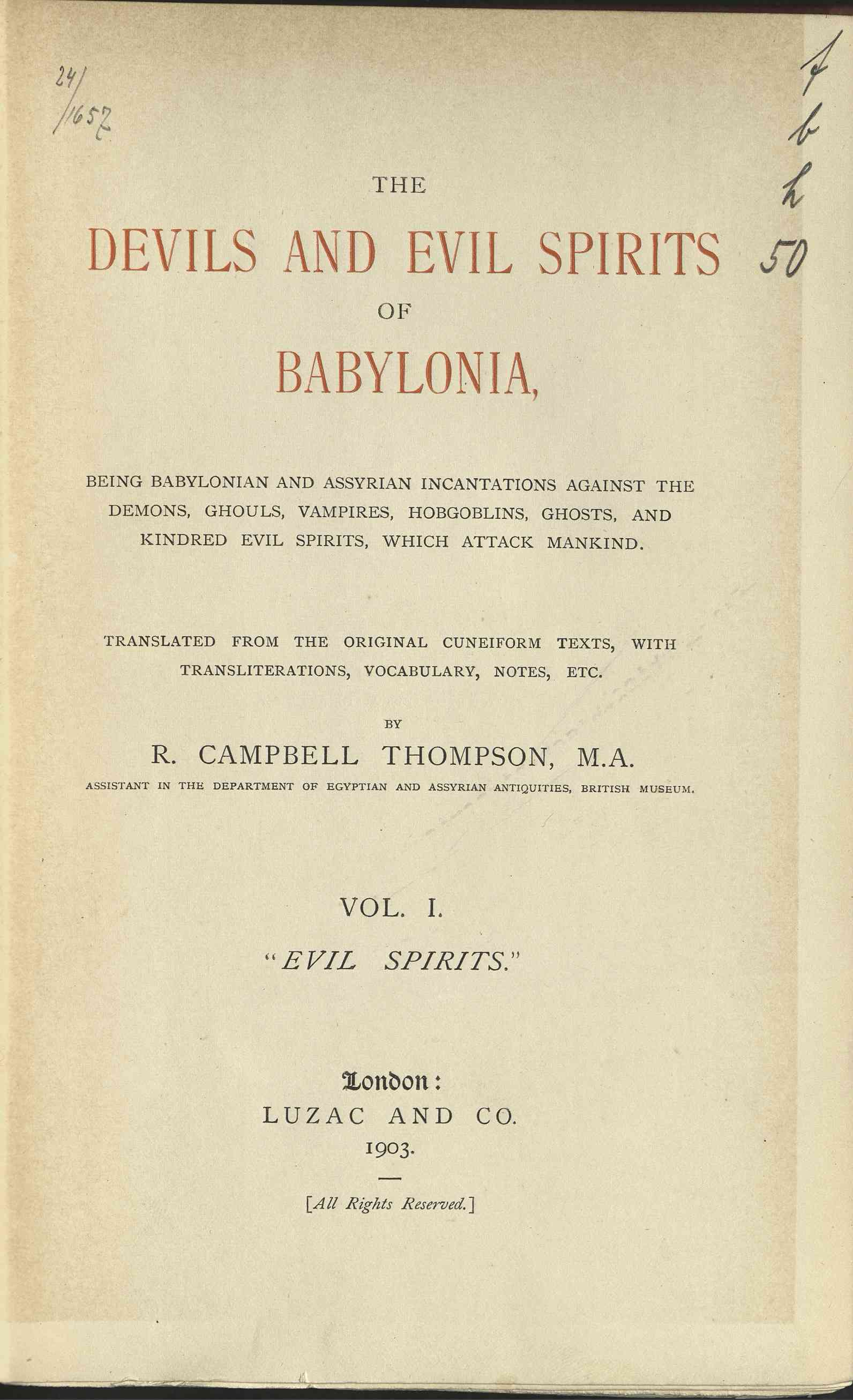 Devils and evil spirits of Babylonia, The