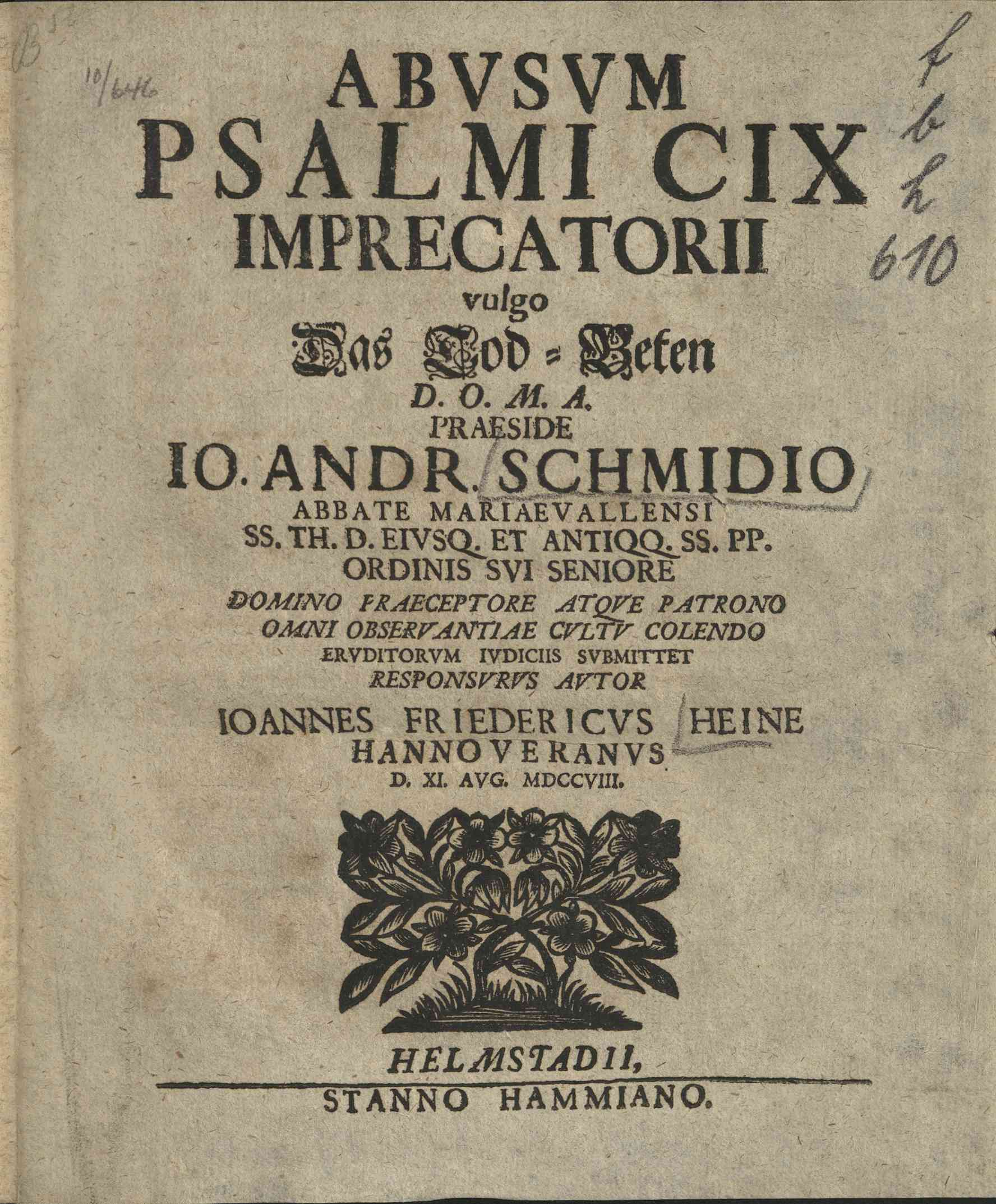 Abusum Psalmi CIX. imprecatorii vulgo